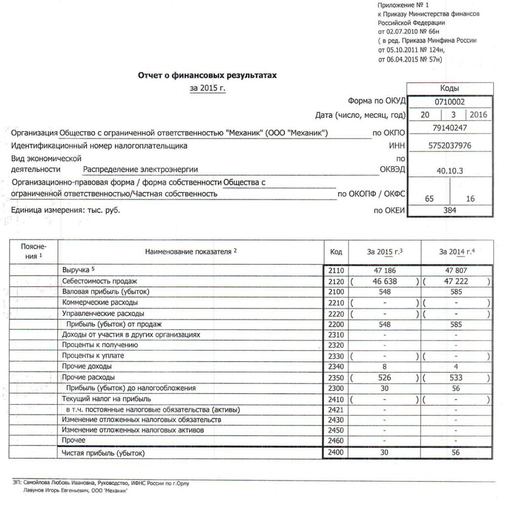 ООО Механик Форма №2 за 2015г-1