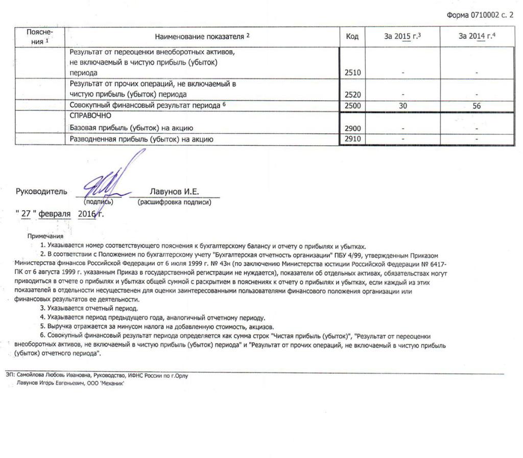 ООО Механик Форма №2 за 2015г-2